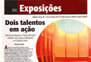 LOPES, Jonas. Dois Talentos Em Ação, Revista Veja São Paulo