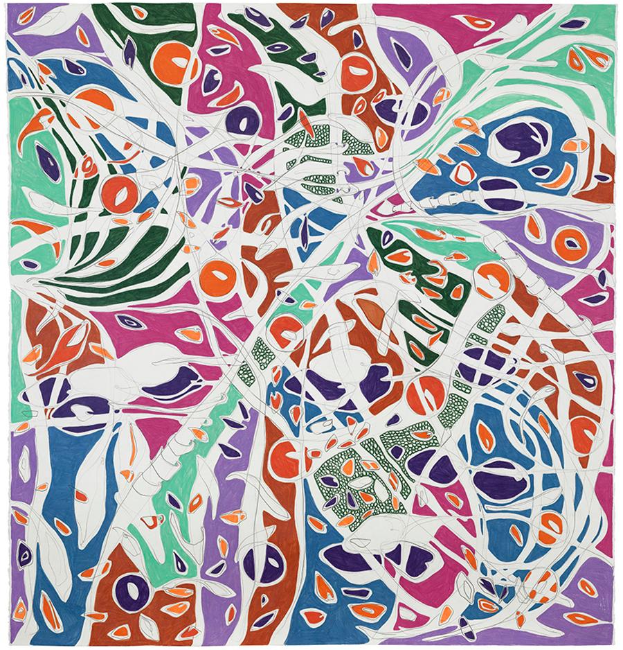 O Balneário, 2017 Grafite e lápis de cor sobre papel 150 x 140 cm