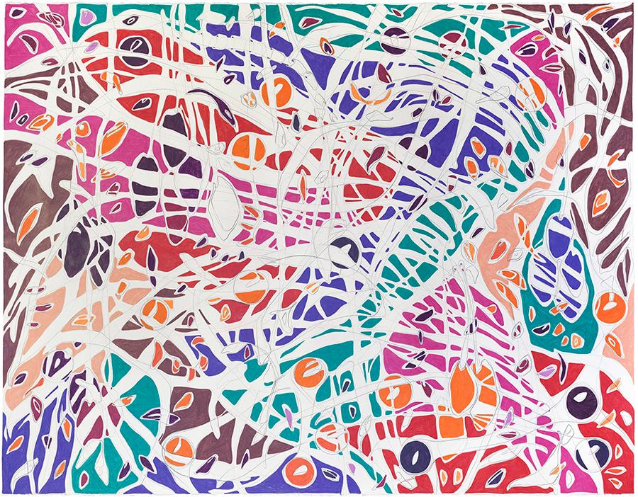 Desfiladeiro, 2017 Grafite e lápis de cor sobre papel 140 x 180 cm