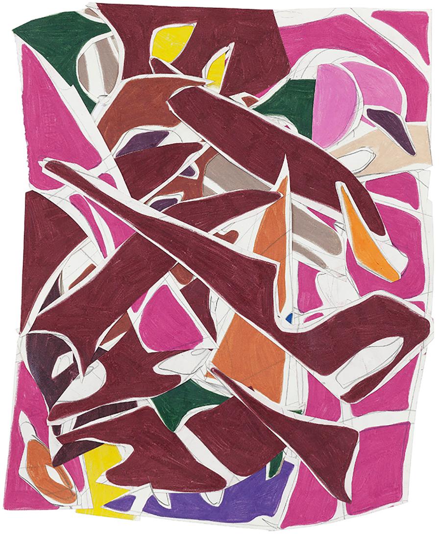 Trançado rosa, 2016 Colagem de papéis desenhados com grafite e lápis de cor 47 x 38 cm