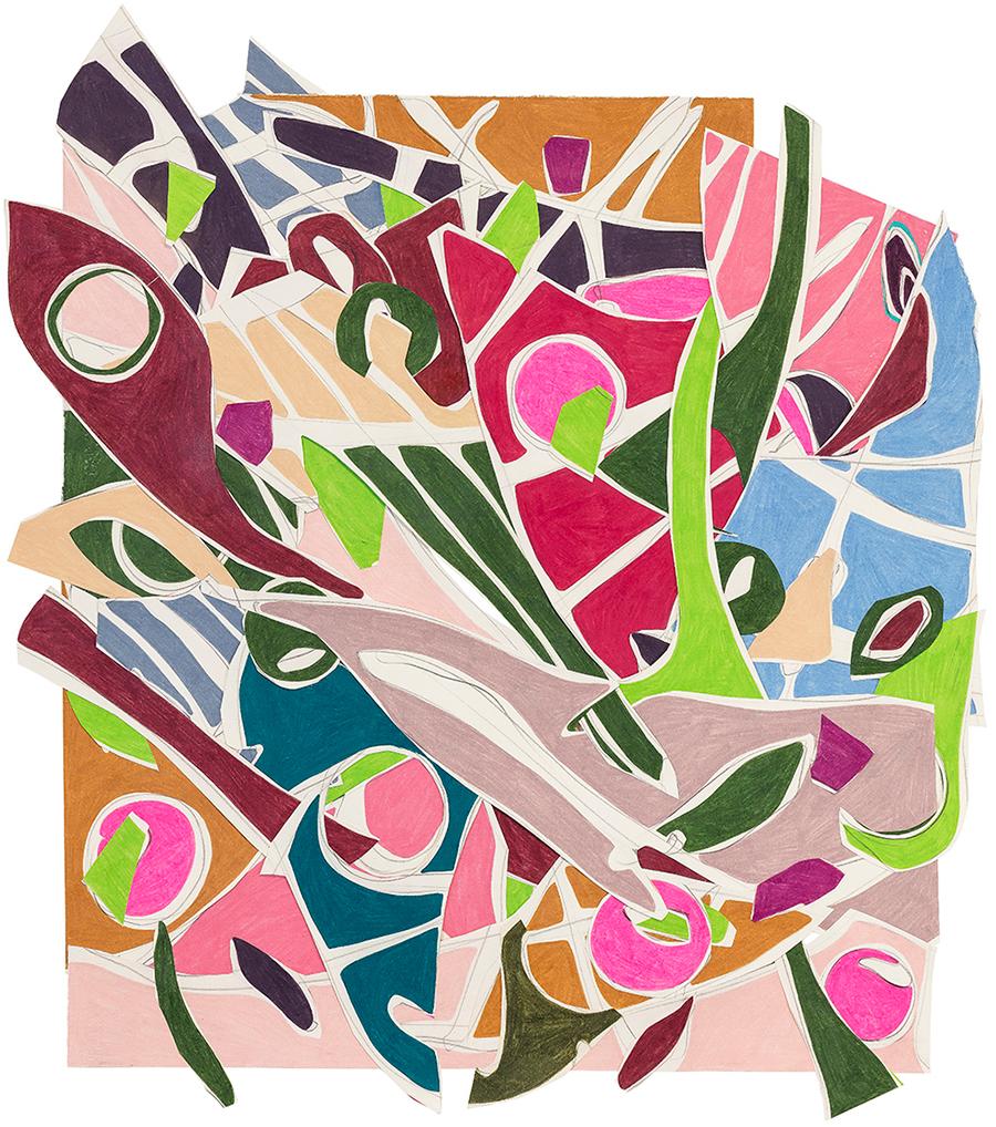 Realismo fantástico 2, 2018 Colagem de papéis desenhados com grafite e lápis de cor 90 x 77 cm
