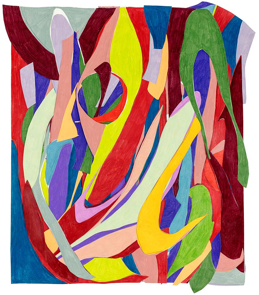 Marcia de Moraes Tava cheio, vazou, 2019 Colagens de papéis, desenhos com grafite e lápis de cor 83 x 72 cm