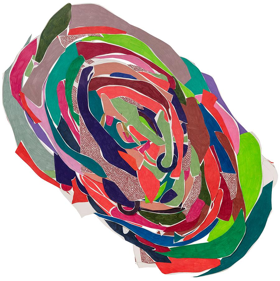 Marcia de Moraes Hurricane, 2019 Colagens de papéis, desenhos com grafite e lápis de cor 140 x 132 cm