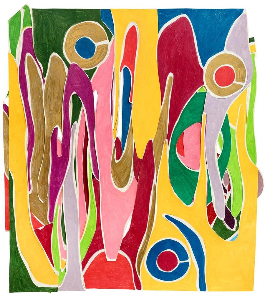 Marcia de Moraes Ups and downs, 2019 Colagens de papéis, desenhos com grafite e lápis de cor 77 x 70 cm