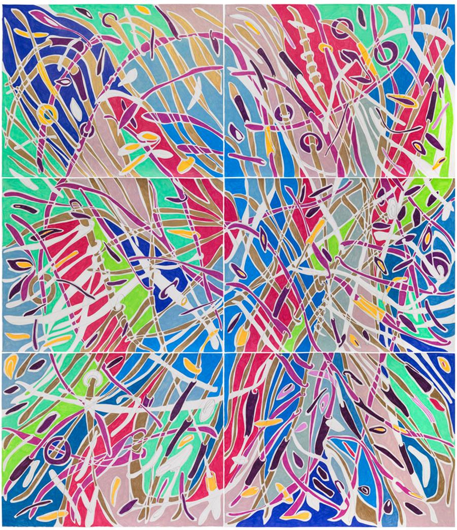 Marcia de Moraes Território - novo, 2019 Grafite e lápis de cor sobre papel 225 x 197 cm (políptico de 3 peças de 75 x 95 cm cada e 3 peças de 75 x 102 cm cada) com moldura