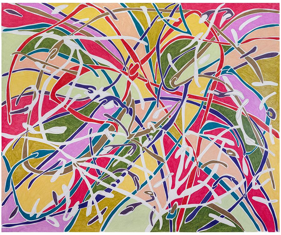 Marcia de Moraes Onda Solta, 2021 Grafite e lápis de cor sobre papel 150 x 185 cm