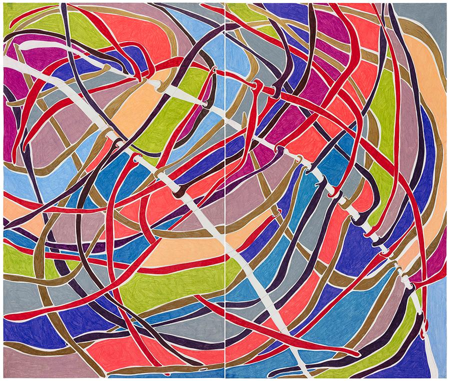 Marcia de Moraes Paralelas, 2021 Grafite e lápis de cor sobre papel 153 x 180 cm