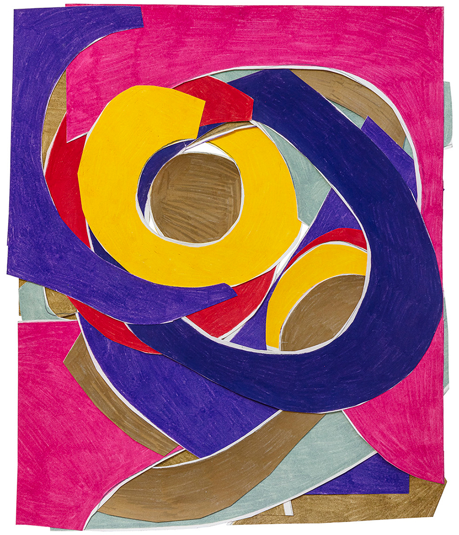 Marcia de Moraes Colagem com anéis, 2021 Colagem de papéis desenhados com grafite e lápis de cor 42 x 36 cm