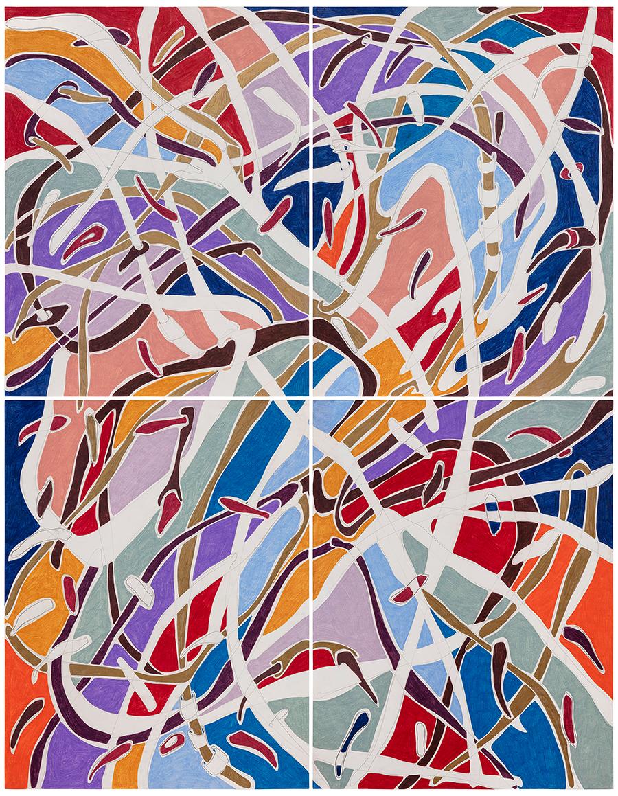 Marcia de Moraes Barulho de Cipós, 2021 Grafite e lápis de cor sobre papel 180 x 140 cm (políptico de 4 partes)