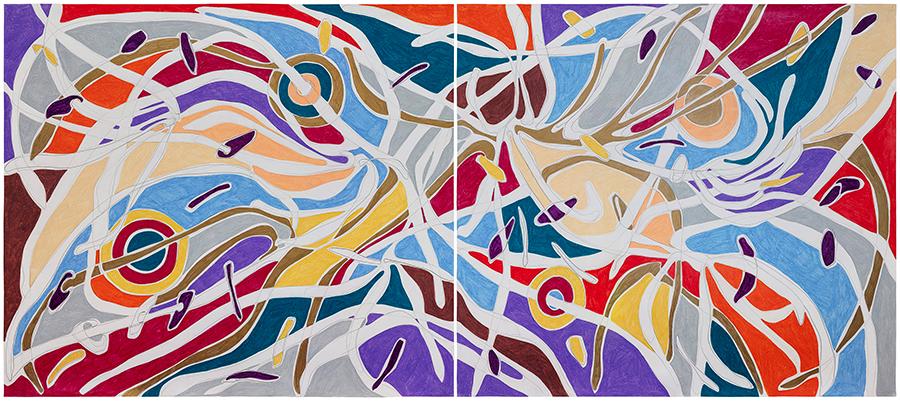 Marcia de Moraes 4 Eclipses, 2021 Grafite e lápis de cor sobre papel 90 x 206 cm (Díptico)
