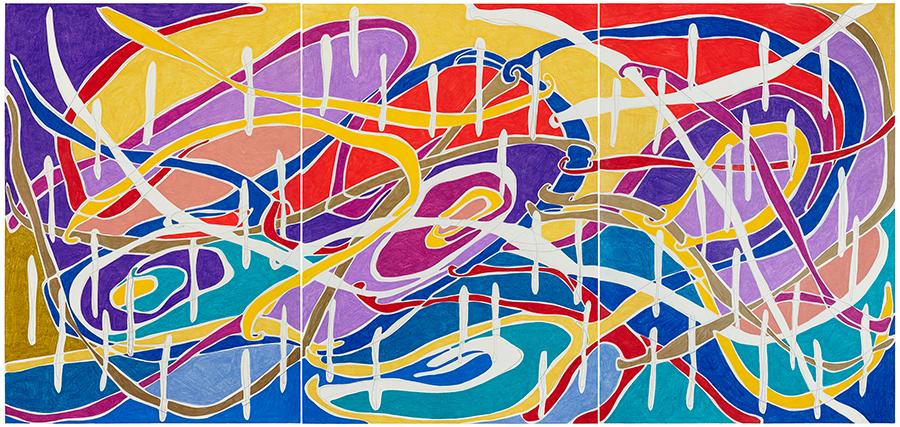 Marcia de Moraes Suave? Suave coisa nenhuma, 2021 Grafite e lápis de cor sobre papel 100 x 210 cm (triptico)