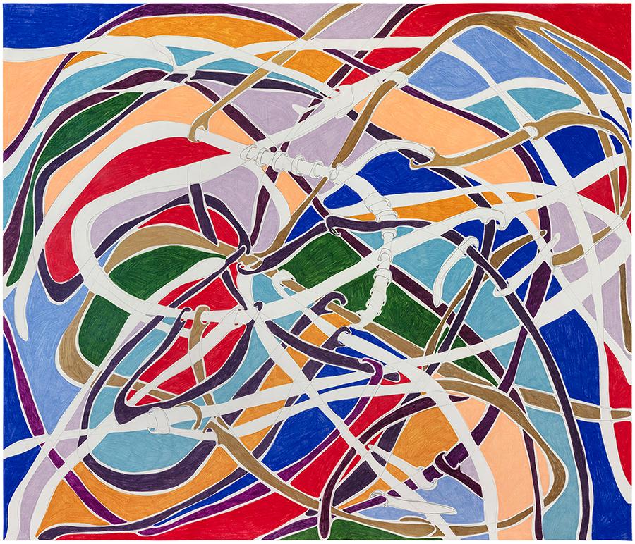 Marcia de Moraes Forma fluída, 2021 Grafite e lápis de cor sobre papel 130 x 150 cm
