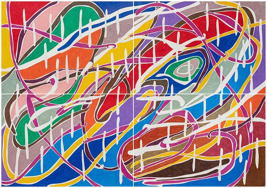 Marcia de Moraes O furioso (ou a tempestade) , 2021 Grafite e lápis de cor sobre papel 140 x 200 cm (poliptico de 4 partes)